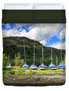 Sailboats At Glenridding In The Lake District Duvet Cover