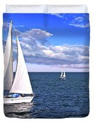 Sailboats At Sea Duvet Cover