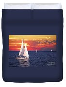Sailboats At Sunset Duvet Cover by Elena Elisseeva