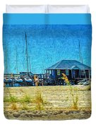 Sailboats Boat Harbor - Quiet Day At The Harbor Duvet Cover