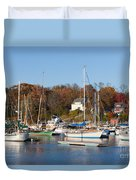 Sailboats In Camden Harbor I Duvet Cover