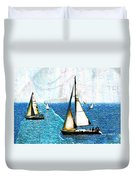 Sailboats In The Harbor Duvet Cover