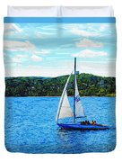 Sailboats In The Summer Duvet Cover