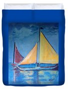 Sailboats With Red And Yellow Sails Duvet Cover