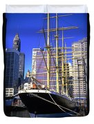 Sailing Boat Anchored In South Street Seaport 1984 Duvet Cover
