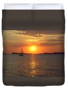 Sailing Boat In Ibiza Sunset Duvet Cover