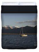 Sailing Boat On An Alpine Lake Duvet Cover