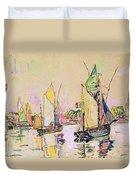Sailing Boats At Les Sables D Olonne  Duvet Cover