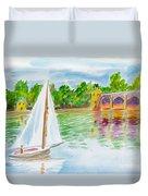 Sailing By The Bridge Duvet Cover