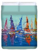 Sailing By The Lighthouse Duvet Cover
