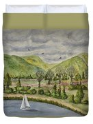 Sailing On A Cloudy Day Duvet Cover