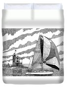 Holland Harbor Lighthouse And Spinaker Flying Sailboat Duvet Cover