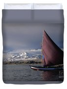 Sailing Boat On Lake Titicaca Duvet Cover