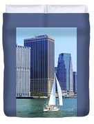 Sailing Past The Skyscrapers Duvet Cover