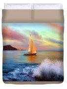 Sailing Past Waikiki Duvet Cover