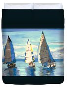 Sailing Regatta At Port Hardy Duvet Cover