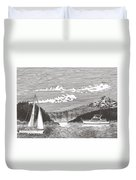 Sailing Mount Hood Oregon Duvet Cover