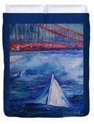 Sailing Under The Golden Gate Duvet Cover