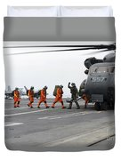 Sailors Board An Mh-53e Sea Dragon Duvet Cover