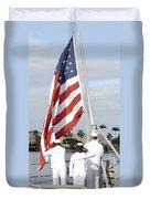 Sailors Hoist The American Flag Duvet Cover