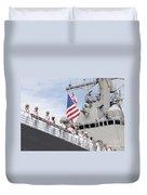 Sailors Man The Rails Aboard Uss Duvet Cover