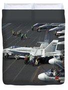 Sailors Push An Fa-18c Hornet Duvet Cover