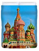 Saint Basil Cathedral In Red Square In Moscow- Russia Duvet Cover