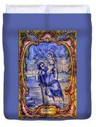 Saint Christopher Carrying The Christ Child Across The River - Near Entrance To The Carmel Mission Duvet Cover by Michael Mazaika