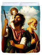 Saint Christopher With Saint Peter Duvet Cover