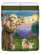 Saint Francis Blesses A Corgi And Her Pup Duvet Cover