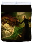 Saint Francis Borgia Helping A Dying Impenitent Duvet Cover