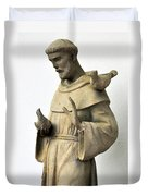 Saint Francis Of Assisi Statue With Birds Duvet Cover