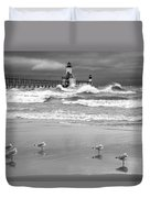 Saint Joseph Michigan Lighthouses Stormy Day At Silver Beach I Bw Duvet Cover