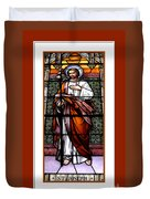 Saint Joseph  Stained Glass Window Duvet Cover by Rose Santuci-Sofranko