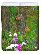 Sala Tree And Orchids At Buddhist University In Chiang Mai-thail Duvet Cover