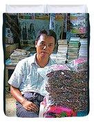 Salesman In The Marketplace In Tachilek-burma Duvet Cover