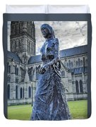 Salisbury Cathedral And The Walking Madonna 2 Duvet Cover