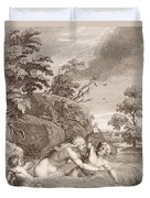 Salmacis And Hemaphroditus United In One Body Duvet Cover