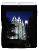 Salt Lake Mormon Temple At Night Duvet Cover