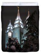 Salt Lake Temple In The Snow Duvet Cover