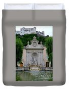Salzburg Castle With Fountain Duvet Cover