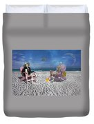 Sam And His Friend Visit Long Boat Key Duvet Cover
