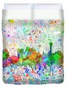 San Antonio Skyline Watercolor 6 Duvet Cover