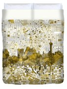 San Antonio Skyline Watercolor 7 Duvet Cover