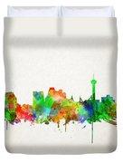 San Antonio Skyline Watercolor Duvet Cover