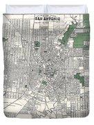 San Antonio Texas Hand Drawn Map  1909 Duvet Cover