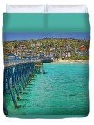 San Clemente Pier Duvet Cover by Joan Carroll