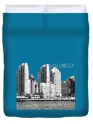 San Diego Skyline 1 - Steel Duvet Cover
