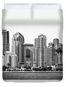 San Diego Skyline In Black And White Duvet Cover
