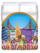 San Francisco Abstract Skyline Golden Gate Bridge Illustration Duvet Cover
